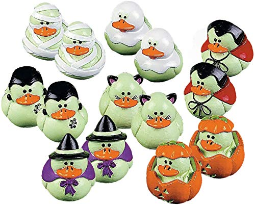 Fun Express Vinyl Mini Glow-in-the-Dark Rubber Ducks   2-Pack (48 Count)   Great for Halloween-Themed -