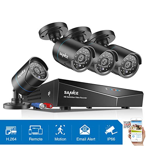 SANNCE 4-Channel HD-TVI 1080N/720P Video Security System DVR Recorder with 4X HD 1280TVL Indoor/Outdoor Weatherproof CCTV Cameras NO Hard Drive,Motion Alert, Smartphone& PC Easy Remote Access