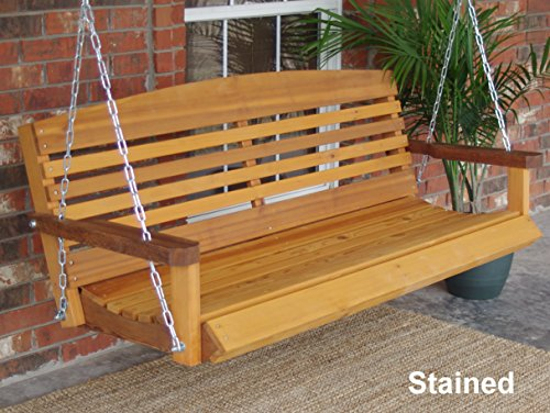(Brand New American Cedar Porch Swing with Hanging Chain - 5 Foot)