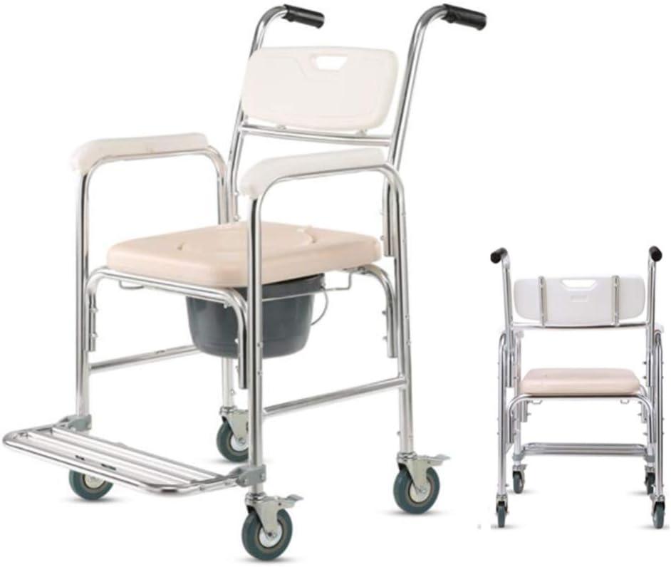 Silla de Transporte para Ducha de Ancianos, Mujeres Embarazadas, Silla de Cama para Inodoro, discapacitados, Silla de Ruedas, aleación de Aluminio, con Asiento Acolchado