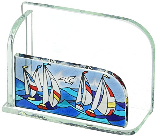 Stained Glass Sailboat (Joan Baker Designs Sailboats Art Glass Business Card Holder)