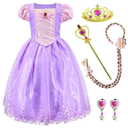Princess Costume Long Hair Rapunzel Dress for Girls Party Dress Up with Braid,Earings,Tiaras & Wand 5-6 Years Light Purple
