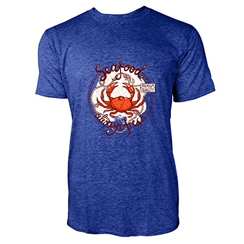 SINUS ART® Seafood Always Fresh mit Krebs Herren T-Shirts in Vintage Blau Cooles Fun Shirt mit tollen Aufdruck