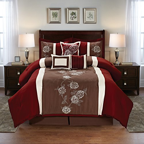 Floral Embroidered 7 Piece Comforter Set - Burgundy/Brown Multi - Brown Burgundy
