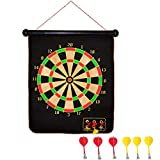 OMGOD 16'' Magnetic Dartboard and 6 Darts, Rolling Safety Double Sided Hanging Magnet Dart Board Bullseye Game Toy for Kids Children Boy