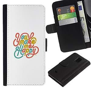 LASTONE PHONE CASE / Lujo Billetera de Cuero Caso del tirón Titular de la tarjeta Flip Carcasa Funda para Samsung Galaxy S5 Mini, SM-G800, NOT S5 REGULAR! / You Make Me Happy White Teal Gold