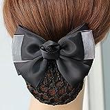 usongs Professional head flower hair accessories hairpin hotel Bank Telecom nurse black dish made with bow string bag hairnet