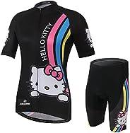 Cplus Sportware Women Short Sleeve Hello Kitty Cycling Gel Pad Jersey Set