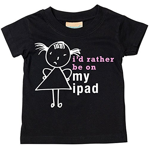 Price comparison product image 60 Second Makeover Limited Big Girls' I'd Rather Be On My iPad T-Shirt Daughte 9-11 Years Black