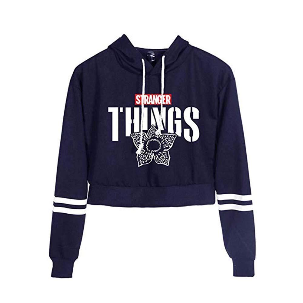 Stranger Things Sweater Hoodie Top De Mujer Hip Hop Movie Print Cintura Alta