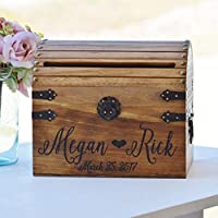 Personalized Wedding Card Box Wood Wedding Card Box with Slot Option 5th Anniversary Gift Wedding Memory Chest Custom Keepsake Trunk