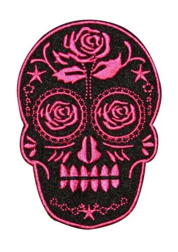 Candy Sugar Skull With Rose Embroidered Iron On Badge Applique Patch for Accessories - Bags/Purses, Apparel - Coat/Jacket, Apparel - Jeans/Pants, Children, Crafts by SayrusPlay (Ribbon Jeans Pants)