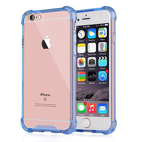 Price comparison product image iPhone 6 Plus / 6s Plus Case, Amuoc Crystal Clear Cover Case [Shock Absorption] with Transparent Hard Plastic Back Plate and Soft TPU Gel Bumper (Blue)