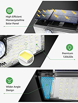 LITOM Solar Lights Outdoor,120 LED Solar Motion Lights with 3 Modes, 270°Wide Angle, IP67 Waterproof, Easy-to-Install Security Lights for Front Door, Yard,Garage, Deck, Fence