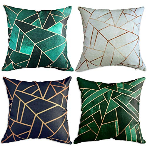 Multiart Set of 4, Decorative Throw Pillow Covers for Couch, Sofa, Bed, Modern Geometric Square Pillow Case Covers, Cushion Cover Home Decorative 18 x 18inch, Linen/Cotton, Blue/Green/Emerald/Beige (Cushions Gold And Green)