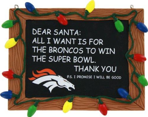 NFL Football Resin Chalkboard Sign Holiday Christmas Ornament - Pick Team (Denver Broncos)