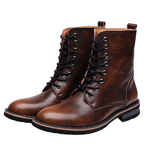 Lace fur Heel Up Chunky Boots Warm Low Brown Boots Pointed Stylish Ankle Lining rismart Mens Toe Chukka Winter THq0wY0x