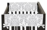 Sweet Jojo Designs 2-Piece Side Rail Guards Teething Protector Baby Unisex Crib Cover Wrap for Lavender and Gray Elizabeth Collection