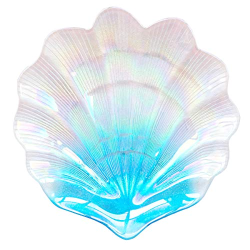 HOMETOOK Shell Dish 12inch Blue Glass Plates in Ocean Color Jewelry Tray Great Dessert Appetizer Wedding Plates Party ()