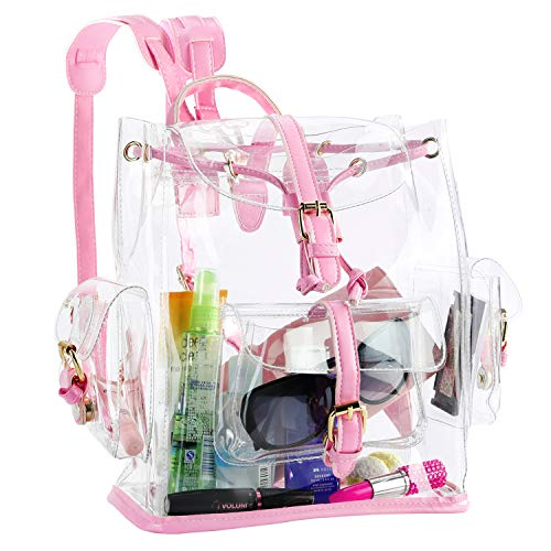 Zicac Summer Clear Backpack Cute Knapsack Satchel Transparent Stadium Approved Backpack (Pink)