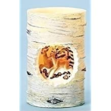 """5"""" Winter Wonderland Deer Birch Distressed Battery Operated Flameless LED Candle"""