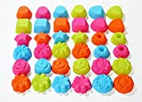 ULEE 36-Pcs Silicone Muffin Liners with 9 Shapes