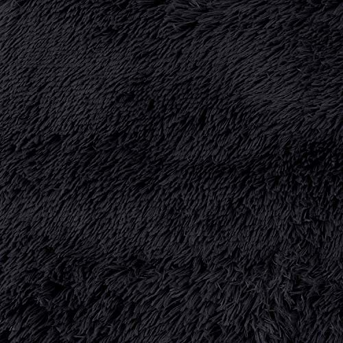 SANMU Soft Round Rug,Fluffy Silky Carpet Fashion Color Smooth Bedroom Mats Round Shag Floor Pad for Girls Bedroom Decorate and Indoor Use,4 Feet,Black by Softlife (Image #6)