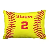 Emvency-Decorative-Throw-Pillow-Cover-Queen-Size-20x30-Inches-Monogram-Personalized-Softball-Name-And-Number-Pillowcase-With-Hidden-Zipper-Decor-Fashion-Cushion-Gift-For-Home-Sofa-Bedroom-Couch-Car
