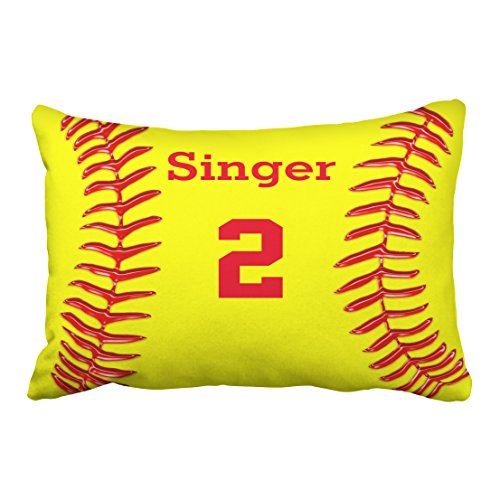 Emvency Decorative Throw Pillow Cover Queen Size 20x30 Inches Monogram Personalized Softball Name and Number Pillowcase with Hidden Zipper Decor Fashion Cushion Gift for Home Sofa Bedroom Couch ()