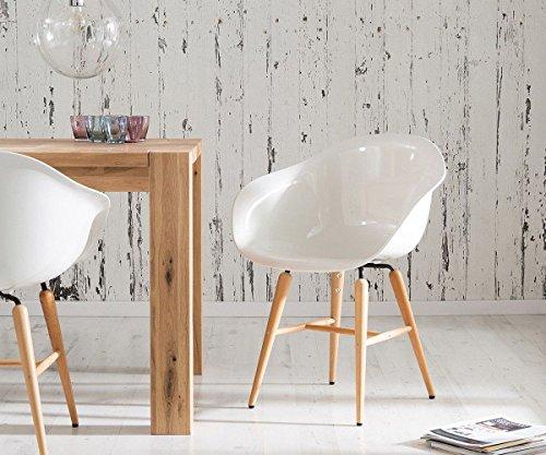 Armlehnstuhl Forum Wood White Holzbeine Buche Esszimmerstuhl Weiss