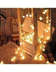 Łańcuch świetlny LED, 6 m 50 LED globus światła 8 trybów wodoodporne zasilanie na baterie ciepłe białe światło na imprezę, pawilon, wakacje ślub sypialnia wewnątrz i na zewnątrz zasilanie bateryjne