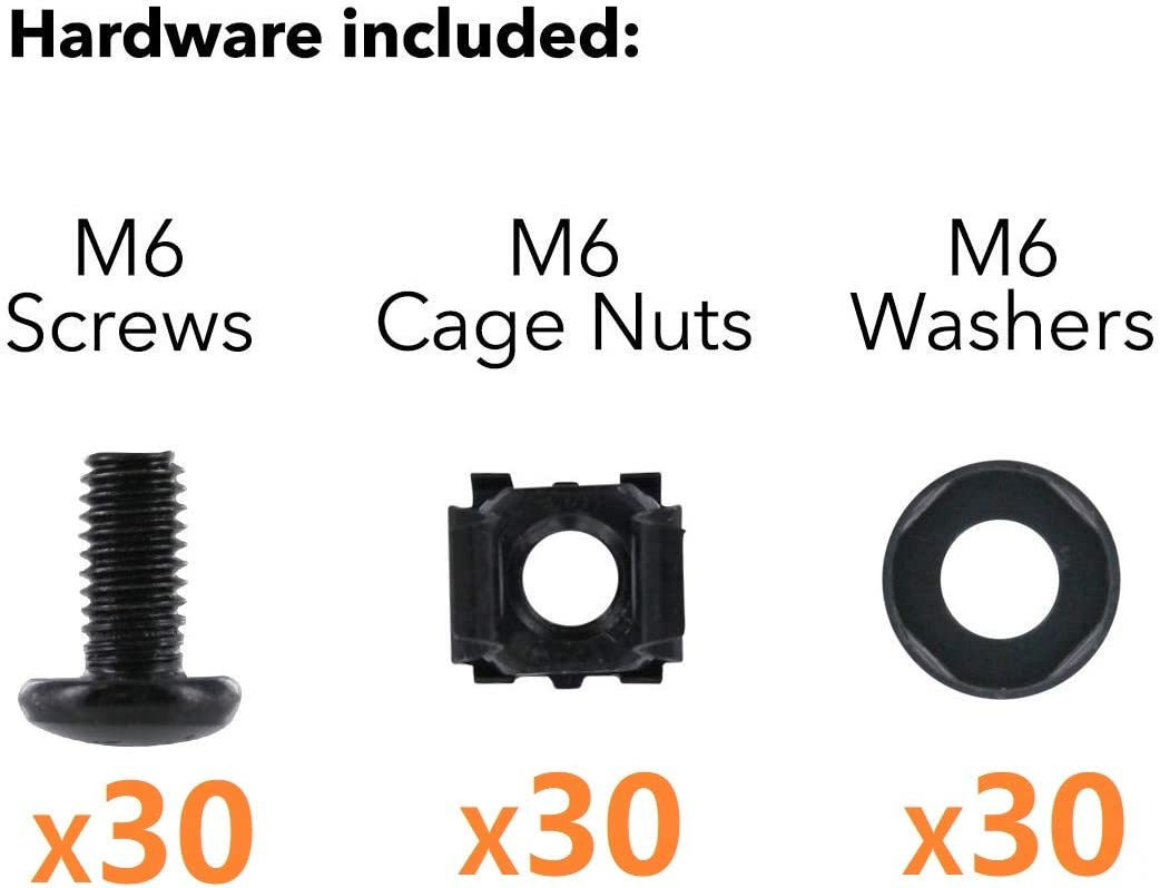 Routers M6 x 16mm Rack Mount Cage Nuts Rack Mount Screws and Square Insert Nuts Screws and Washers for Rack Mount Server Cabinet Black 40 PACK