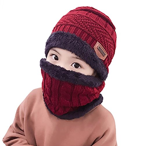 Reversible Winter Hat Knit - Kids Winter Knit Hats Beanie Circle Scarf Set Warm Windproof Thick Slouchy Skull Cap for Kids Boys Girls (3-12 Years)