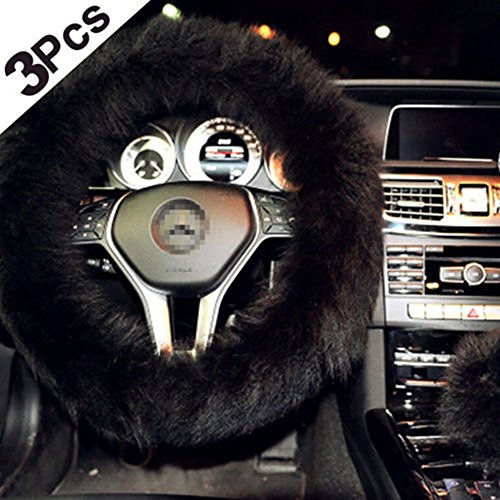 3 in 1 Cover Set Universal Long Furry Steering Wheel Cover Shifter Cover and Parking Brake Cover (Black) - Center Cover Steering Wheel Wheels