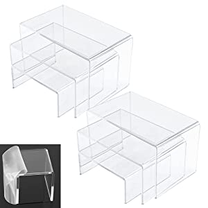 6PCS Clear Acrylic Display Risers, 2 Sets Jewelry Display Riser Shelf Showcase Fixtures for Candy Dessert Collectible Figures Table Decorations(3Sizes)