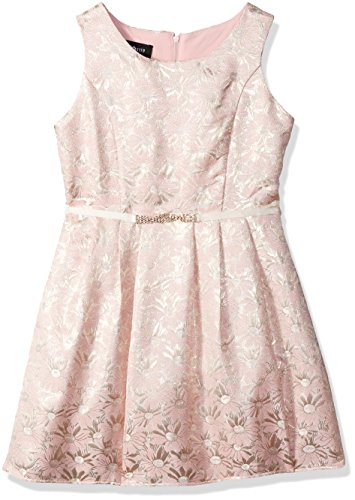 Amy Byer Big Girls' Brocade Dress with Princess Seams, Pat B/Pink, 8