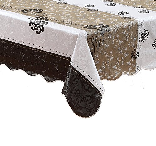 Artisan Flair AF5472-054 Black Chrysanthemum Oblong PVC Tablecloth Waterproof With Scalloped Edge-54