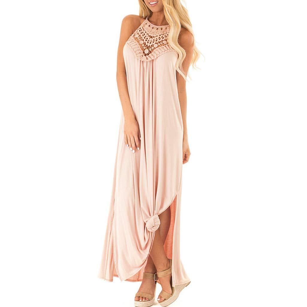 TRENDINAO 2019 Women Summer Cold Shoulder O Neck Sleeveless Dress Evening Party Dress Pink by TRENDINAO