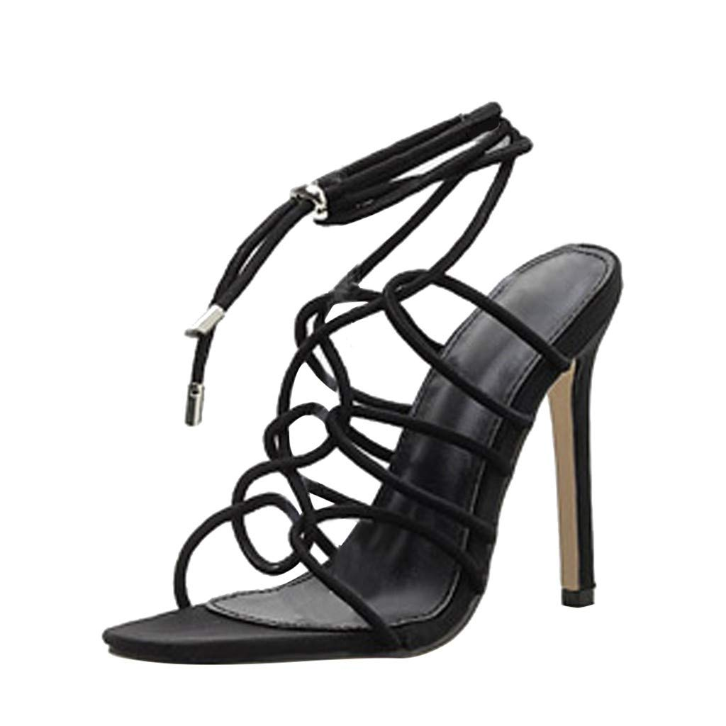 Women High Heels Sandals,Summer Cut Out Lace-up Criss Cross Ankle Boots Peep Toe Hollow Shoes (US:5, Black)