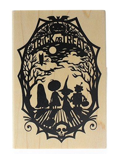 Inkadinkado Halloween Mounted Rubber Stamp, Trick or Treat Paper -
