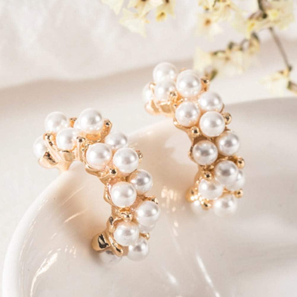 ZHQJY Temperamento Pendientes de Perlas de imitación semicirculares Salvajes Pendientes deDamasjaponesasRegalo de joyería Dulce