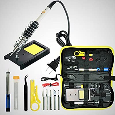 Magento's Superb 14 Pieces Set Adjustable Temperature Soldering Iron Kit 60w - 110v - Best for Small Electric Work, Jewellery and Welding. 5 Bonus Tips in Various Sizes + Bonus Solder Wire + Stand].
