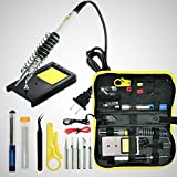 Tools & Hardware : Magento's Superb 14 Pieces Set Adjustable Temperature Soldering Iron Kit 60w - 110v - Best for Small Electric Work and Welding. 5 Bonus Tips in Various Sizes + Bonus Solder Wire + Stand].