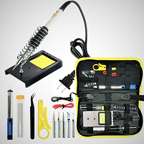 Magento's Superb 14 Pieces Set Adjustable Temperature Soldering Iron Kit 60w - 110v - Best for Small Electric Work, Jewellery and Welding. 5 Bonus Tips in Various Sizes + Bonus Solder Wire + Stand]. Ceramic Iron Soldering Iron