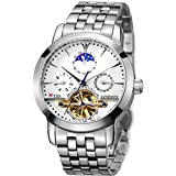 TSS Men's Automatic Skeleton Moonphase Watch Stainless Steel Band T8030N1