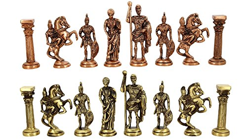 Handmade Brass Roman Laquered Chess Pieces-Without Board-Chess Pieces Only by ShalinIndia