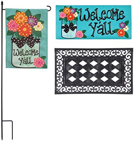 Evergreen Flag Welcome Y all, Spring and Summer Outdoor D cor Set for Your Patio, Porch or Garden. Beautifully Made Floral Garden Flag, Matching Door Mat and Mat Tray, Set of Three
