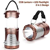 LED Camping Lantern - LED Camping Light, IRuiYinGo Camp Lantern Handheld Flashlight Portable Collapsible COB Lights Bulb Lamp Compact Gifts for Emergency, Survival, Hurricane, Power Outage, Brown (Battery Not Included)
