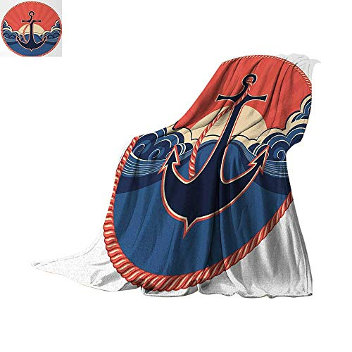 Anchor Warm Microfiber All Season Blanket Navy Label with Robe and Sea Waves at Sunset Anchor Retro Aquatic Life Icons Velvet Plush Throw Blanket 50