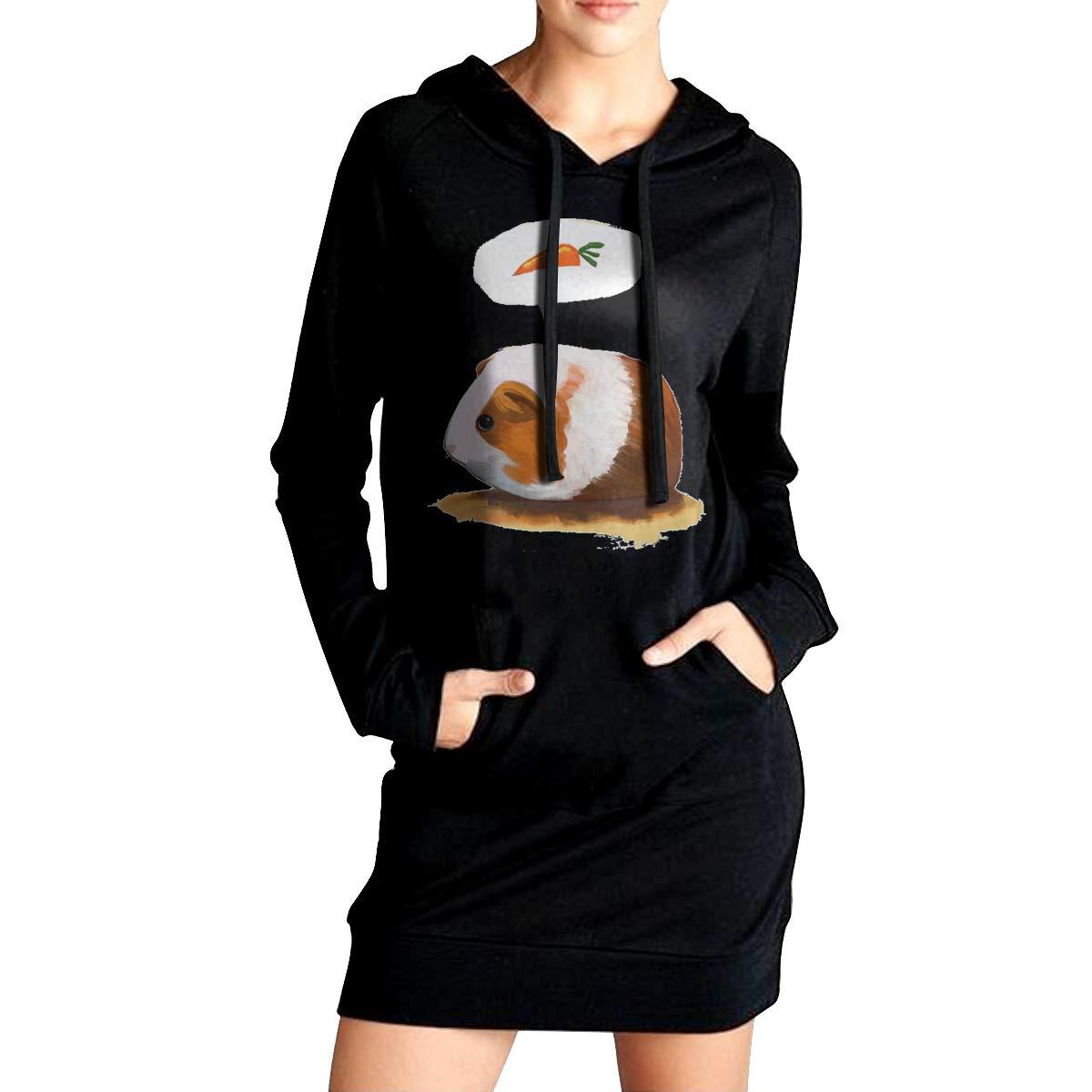 Northern Nebula Guinea Pig Animal Womens Long Sleeve Hoodie Tunic Dress Solid Pullover Loose Sweatshirt Long Tops